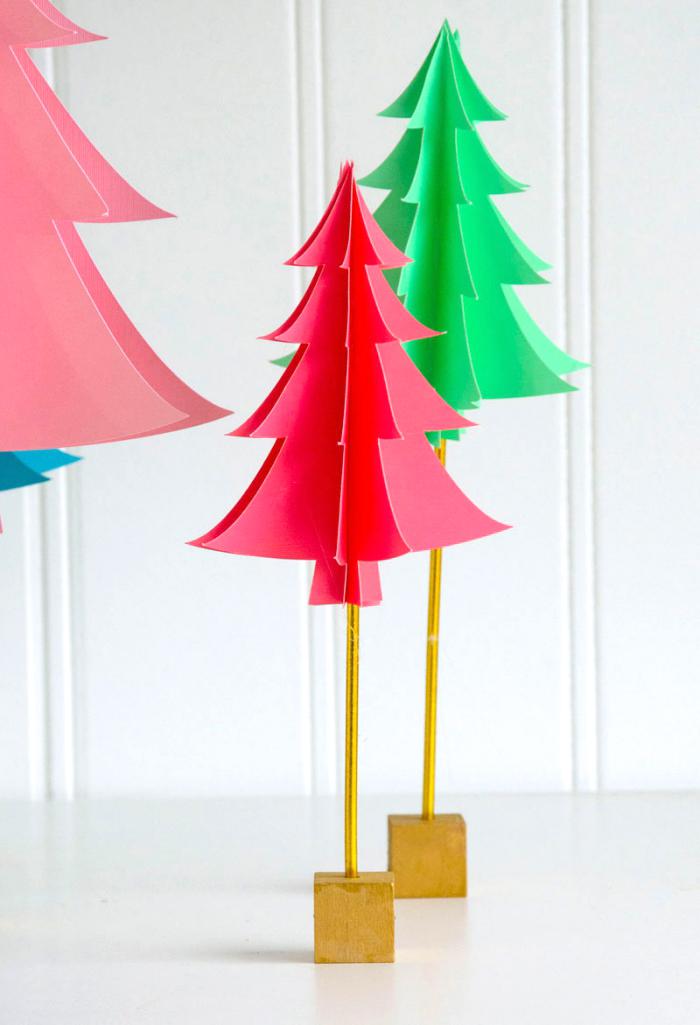 tannenbaum basteln papier vorlage, kleine holzwürfeln, deko zu weihnachten selber machen