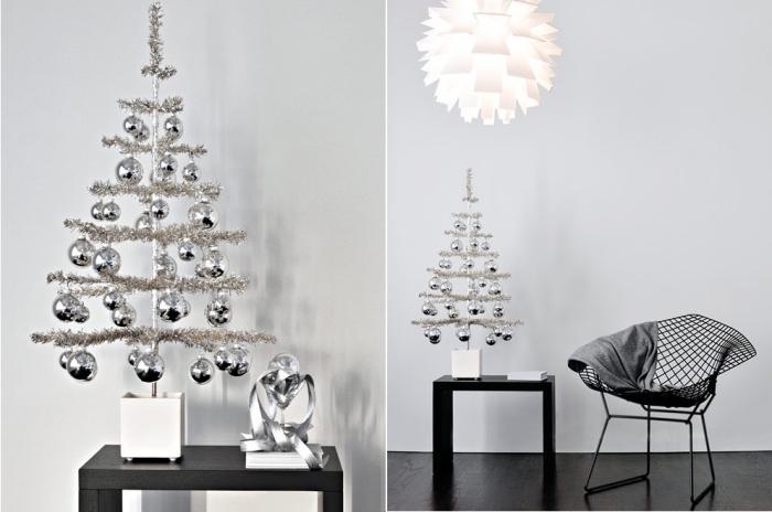 alternativer tannenbaum basteln, silberne weihnachtskugeln, weißer lampenschirm, girlande