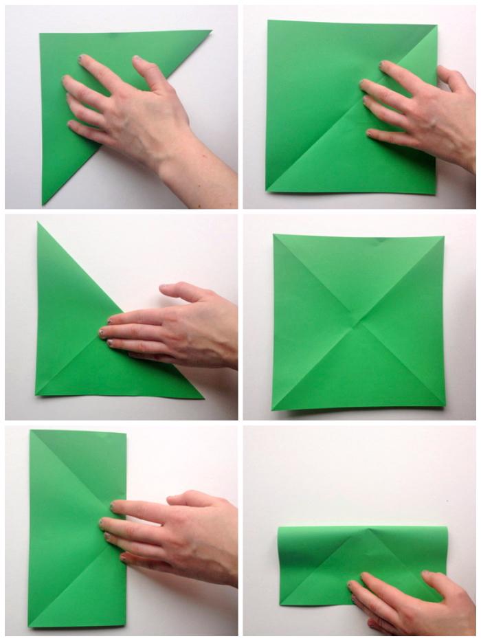 bastelideen zu weihnachten, tannenbaum falten anleitung in bildern, grünes papier, diy