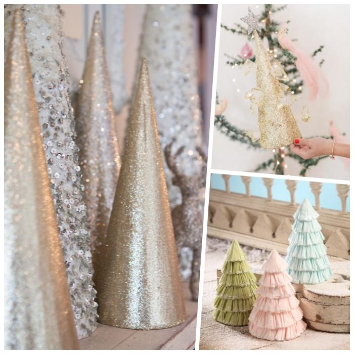weihnachtsbaum ideen, goldenes glitzerpapier, tannenbaum falten aus halbkreis, roter nagellack