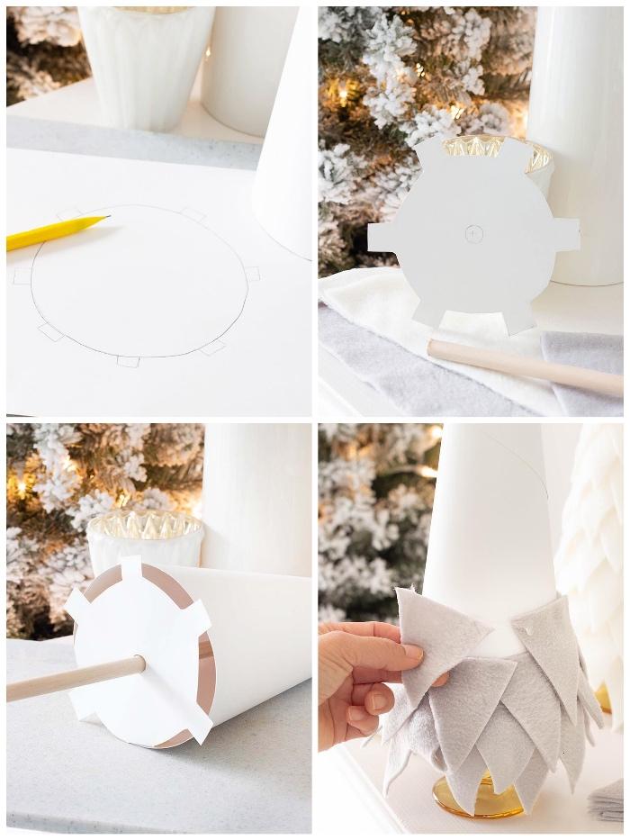 tannenbaum falten aus halbkreis, dreiecke aus grauem filz, kreis zeichnen, grundlage