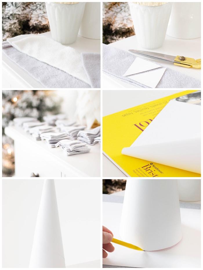 tannenbaum falten aus halbkreis, stoff in dreiecken schneiden, kreis zeichnen, bleistift