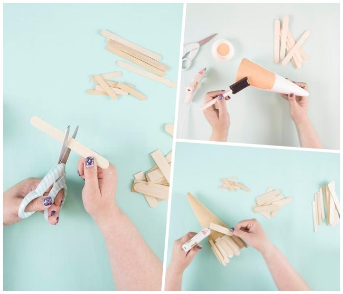 kegel selber machen, beige farbe, tannenbaum falten aus halbkreis, collage