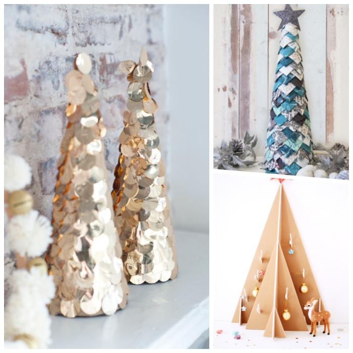 tannenbaum falten aus halbkreis, goldene pailetten, kegel aus papier, alternative weihnachtsbäume