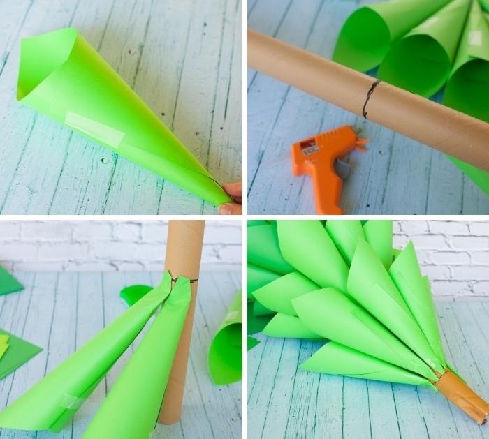 tannenbaum falten, kegel aus grünem bastelkarton, orangenfarene heißklebepistole, tutorial