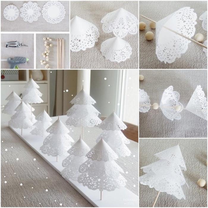 tannenbaum falten, tischdkeko zu weihnachten, weißes papier, holzperlen