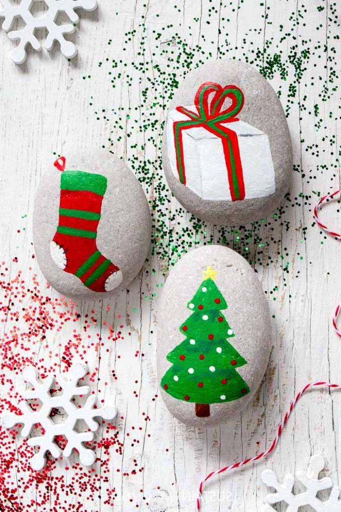 tannenbaum malen ideen, steine bemalen, schneeflocken aus holz, komfetti
