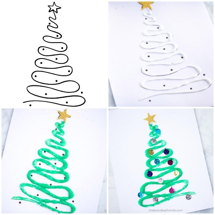 tannenbaum malen ideen, vorlage ausdrucken, weißer kleder weihnachtskarte basteln