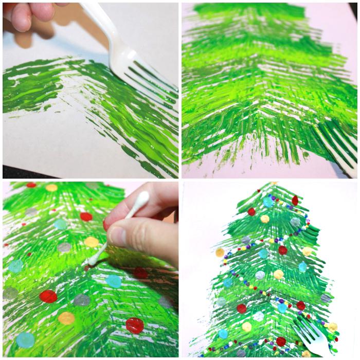 weißer plastigabel, tannenbaum malen, grüne farbe, schritt für schritt, wattestäbchen