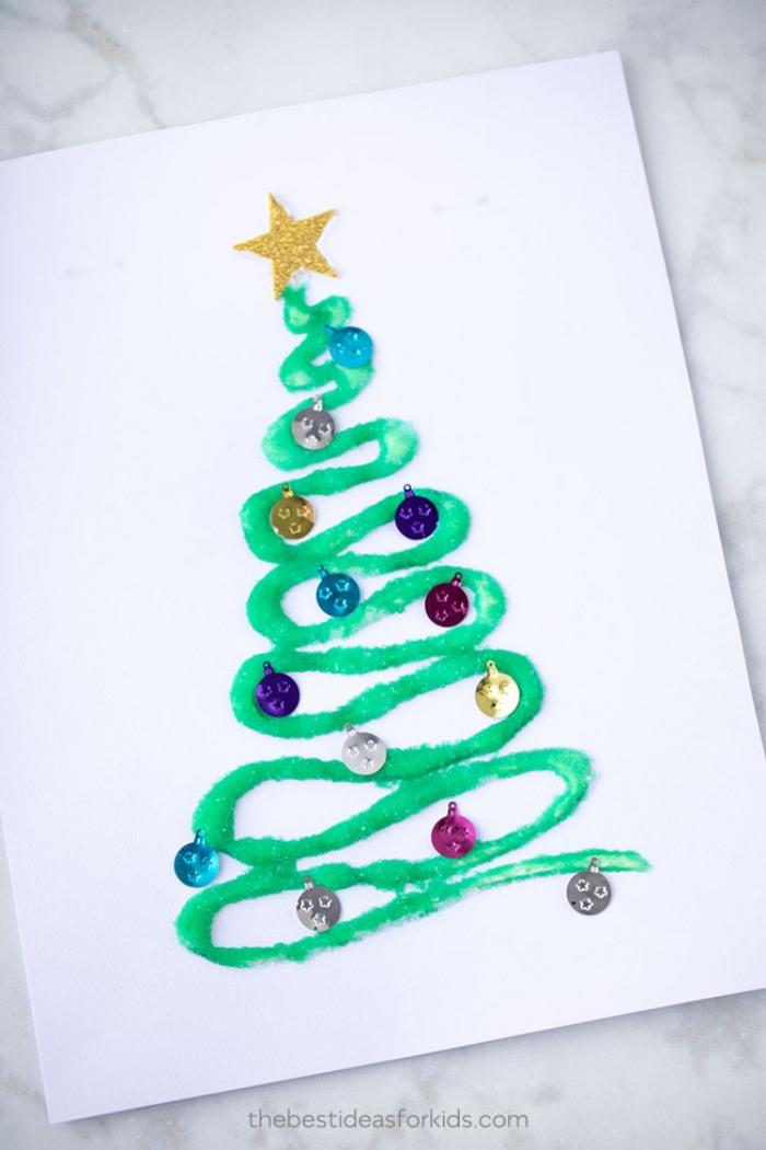 weihnachtskarten selber machen, tannenbaum malen, goldener stern