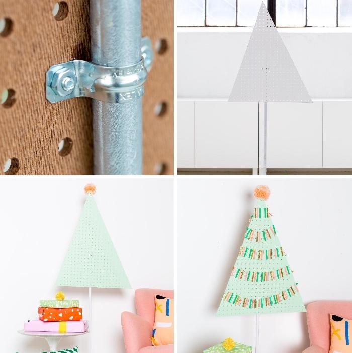 tannenbaum vorlage aus papier, großer dreieck, metallenes rohr, weihnachtsdeko diy