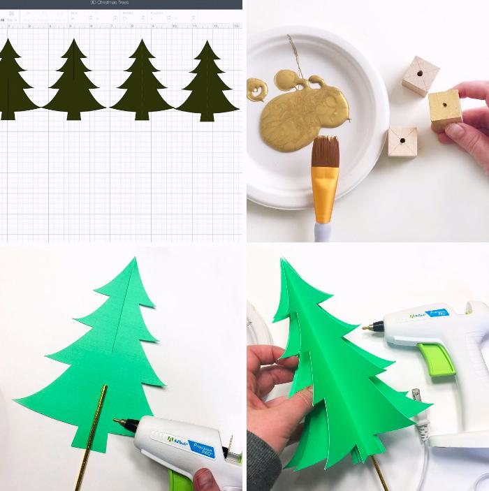 tannenbaum vorlage drucken, holzwürfel bohren, goldene farbe, grünes papier