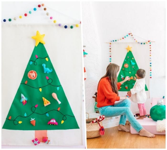 tannenbaum vorlage, frau und mädchen, girlande aus bommeln, kleine figuren aus stoff