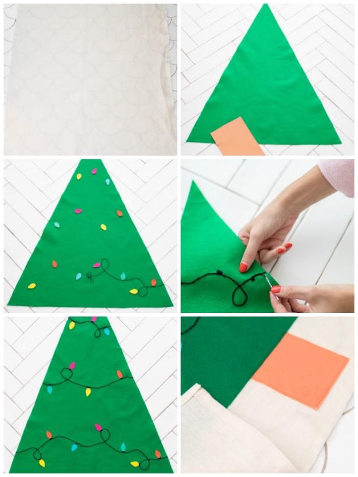 tannenbaum vorlage, grüner stoff, lichterkette nähen, schritt für schritt anleitung