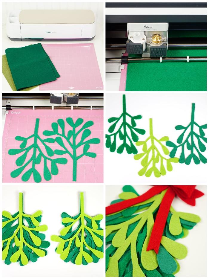 tannenbaum vorlage ausdrucken, hellgrüner und dunkelgrüner stoff, türdeko selber machen