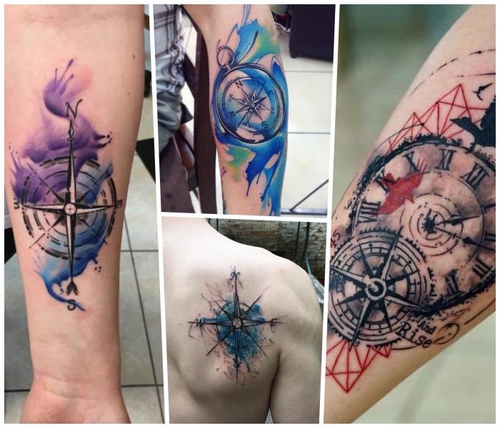 taschenuhr tattoo in schwarz und rot, wasserfarben tätowierung am rücken, collage
