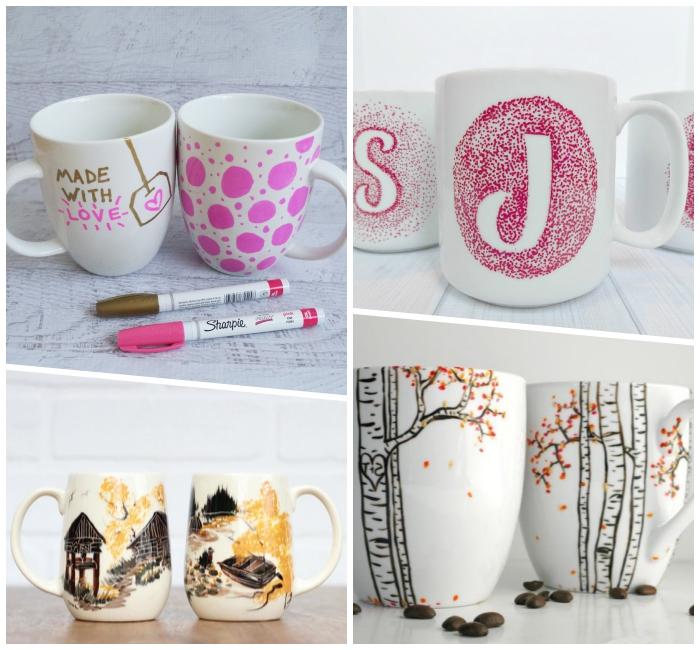 tasse bamalen mit kindern vorlagen, rosa und goldener marker, geschenke selber machen