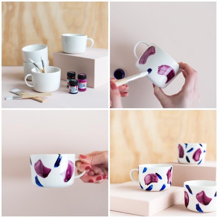 tassen bemalen anleitung in bildern, lila und blaue porzellanfarbe auftragen, pinsel