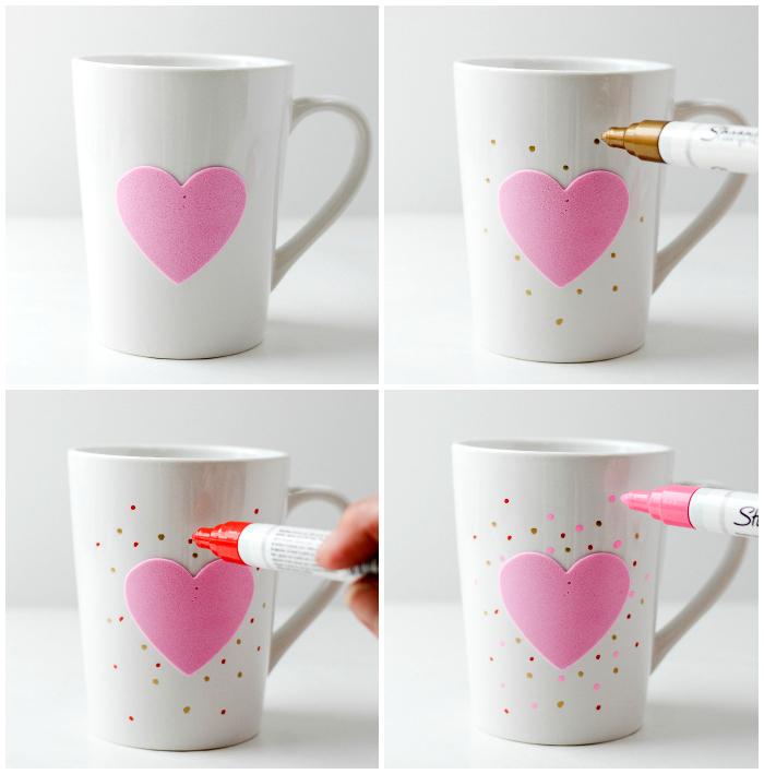 tassen bemalen, rosa herz, punkte machen, kaffeetasse verzieren, einfach