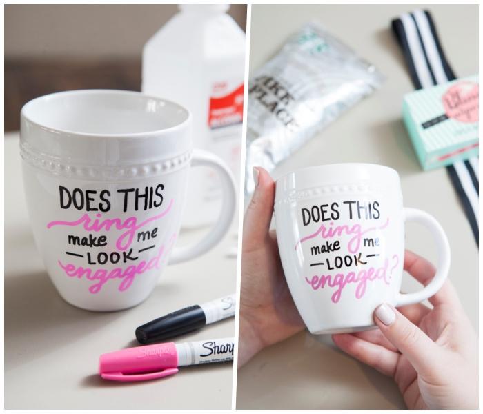 tassen bemalen, einfache anleitung, schwarzer und rosa marker, reinigungsalkohol