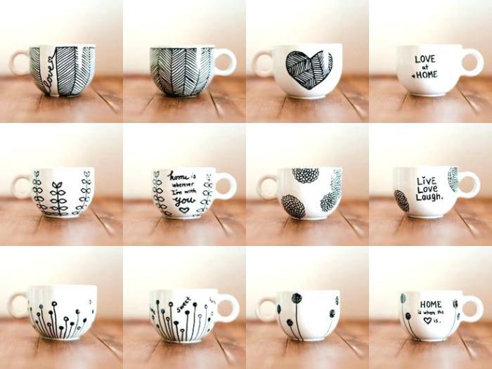 colalge mit fotos, kaffeetassen dekoriert mit schwarzerm marker, tassen bemalen vorlagen