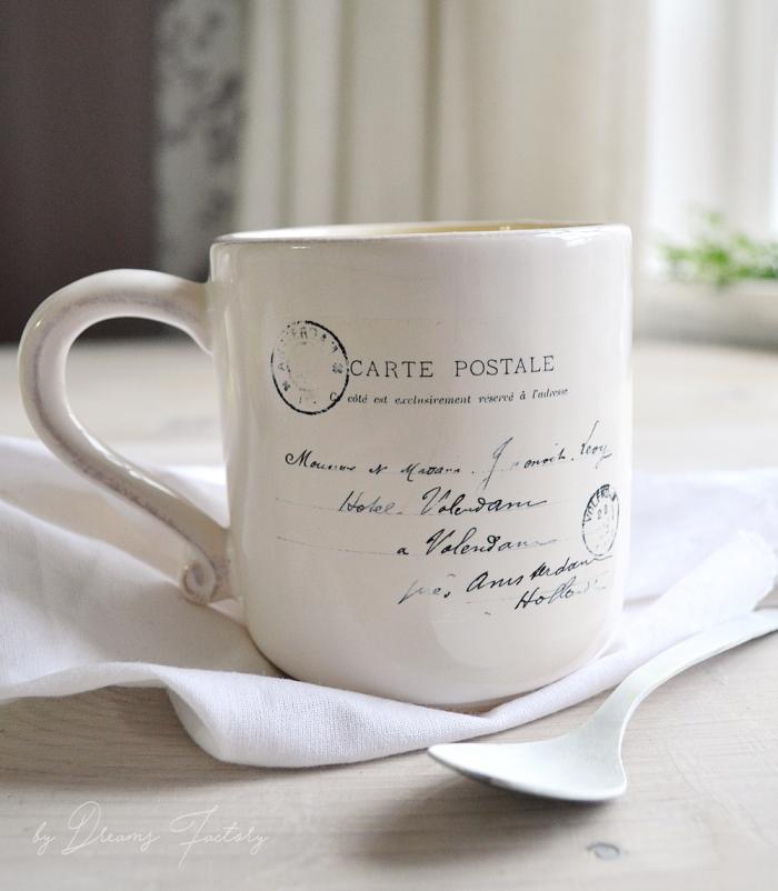 weißer küchentuch, keramischer löffel, tassen bemalen vorlagen, kaffeetasse im vintage stil