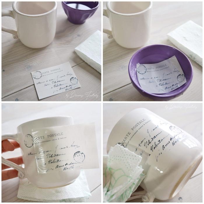 tassen bemalen vorlagen, lila schale mit wasser, kleiner zettel, diy geschenke, collage