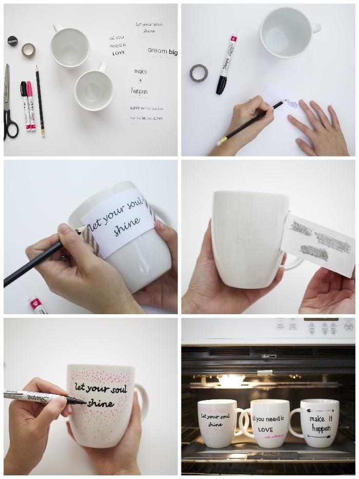 weiße tassen selbst bemalen, diy anleitung, schwarzer marker, bleistift, materialien