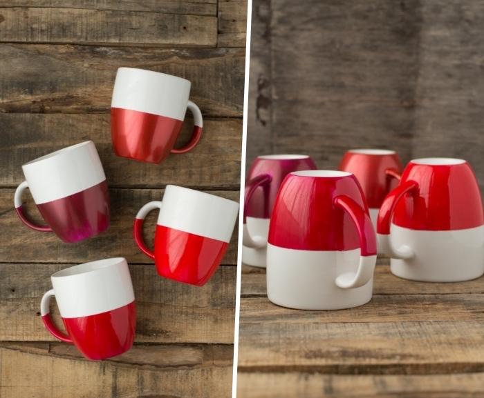 doppenfarbige kaffeetassen machen, tassen selbst bemalen, rote farbe, tutorial