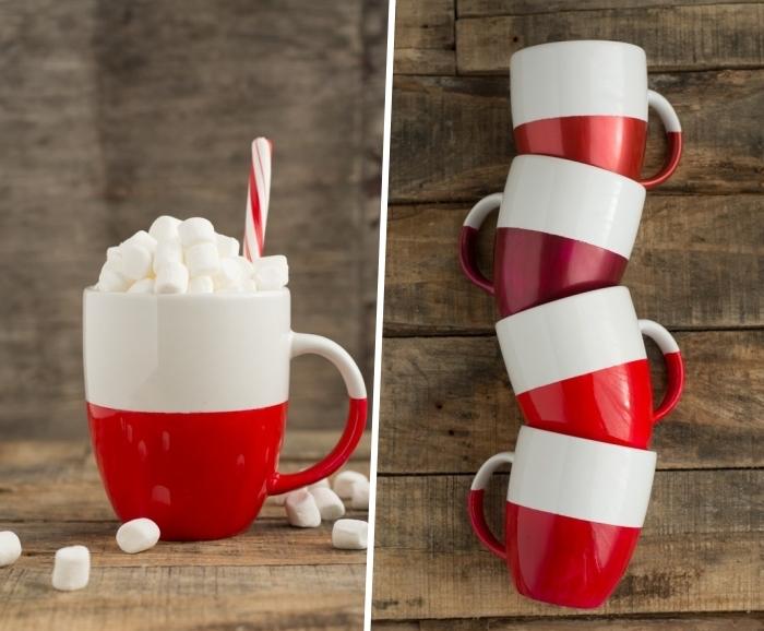 kaffeetasse in zwei farben, tassen selbst bemalen, mini marschmallos, stohhalm