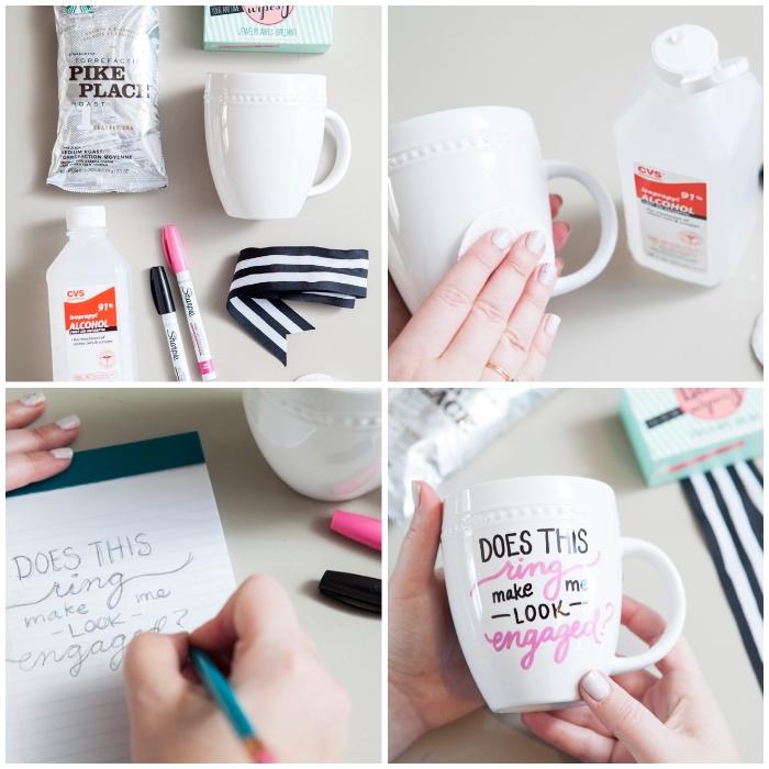 eifnache bastelanleitungen, tassen selbst bemalen, rosa und schwarzer marker, reinigungsalkohol