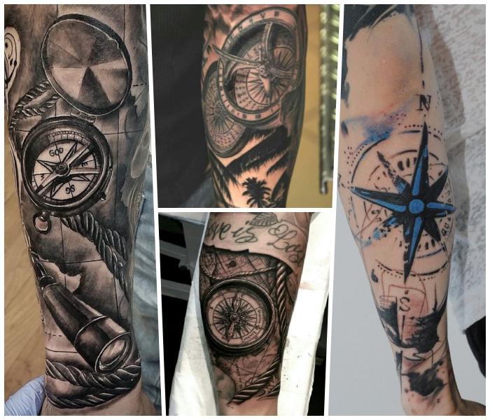 tattoo bedeutung, blauer stern, motive für männer, dicker seil, schriftzug