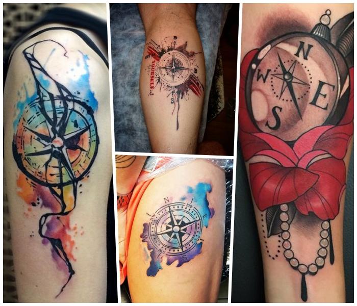 tattoo bedeutung, rote blume in kombination mit perlenkette und kompass, watercolour