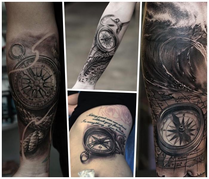 tattoo kompass, realitische tätowierungen, große wasserwelle, maritime motive