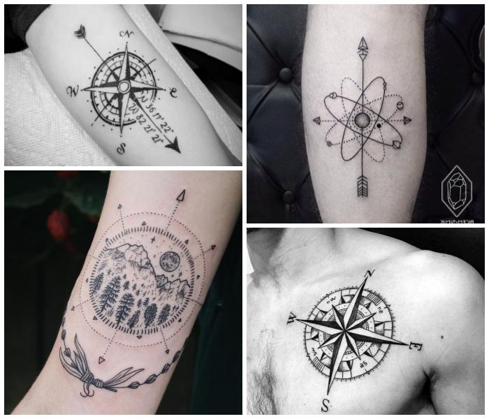 detailliertes tattoo feil mit koordinaten und kompass, mann mit tätowierung an der brust