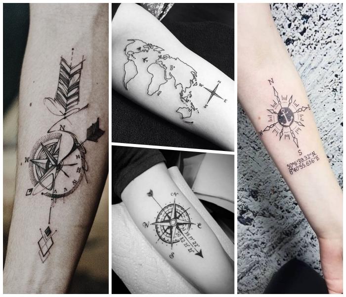 tattoo taschenuhr ideen, kleine tätowierungen, geometrische motive, pfeile