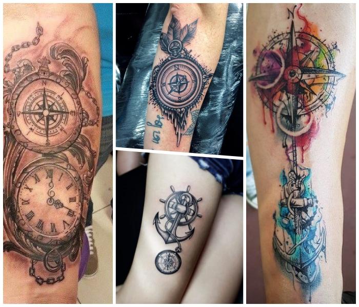 tattoo taschenuhr und kompass, anker in kombination mit steuerrad, wasserfarben