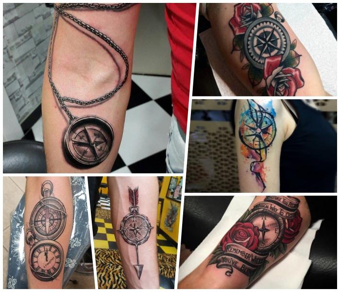 realitisches tattoo taschenuhr, rote rosen, wasserfarben tätowierung am oberarm