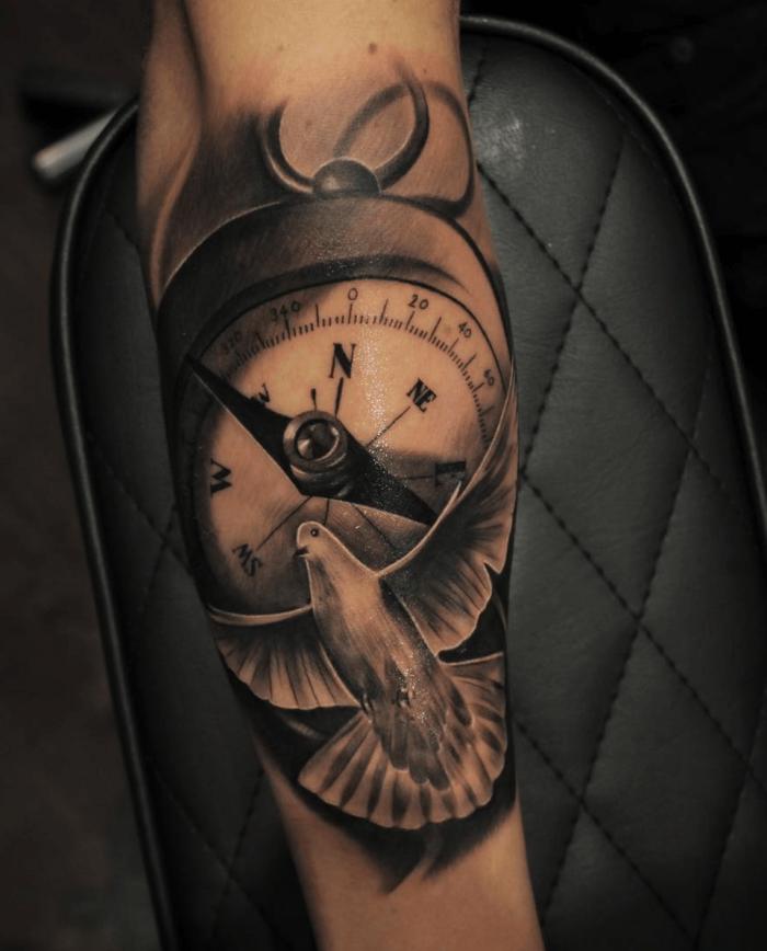 detaillierte tätowierung, weiße taube, tattoo vorlagen arm, 3d look