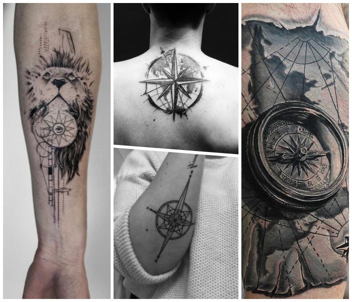 tattoo weltkarte, löwenkopf mit kompass, tätowierung mit geometrischen motiven