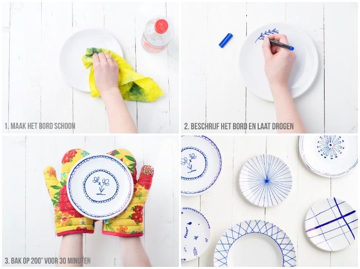 teller bemalen anleitung, bunte küchenhandschuhe, weißer marker für porzellan, goemetrische motive