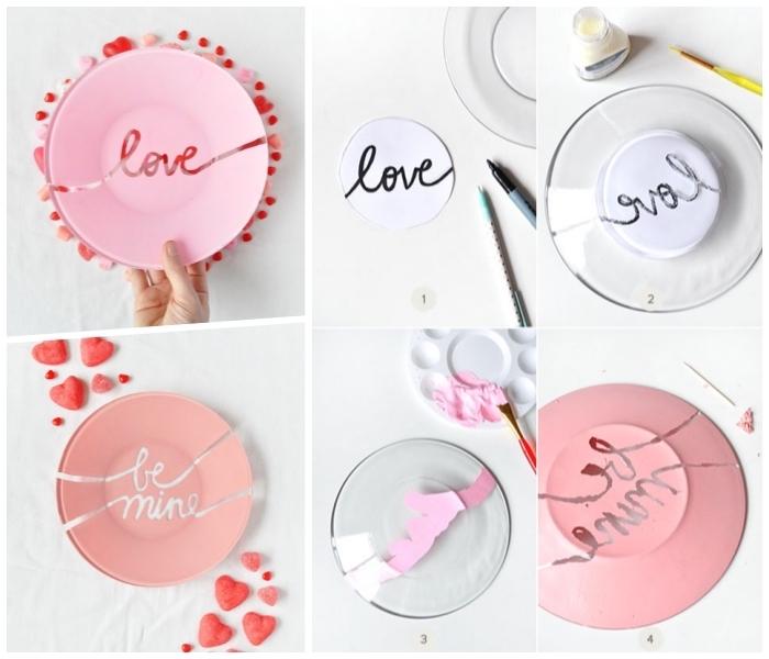 teller bemalen, kreis aus papier, schwarzer marker, rosa farbe, herzen, geschenk zum valentinstag