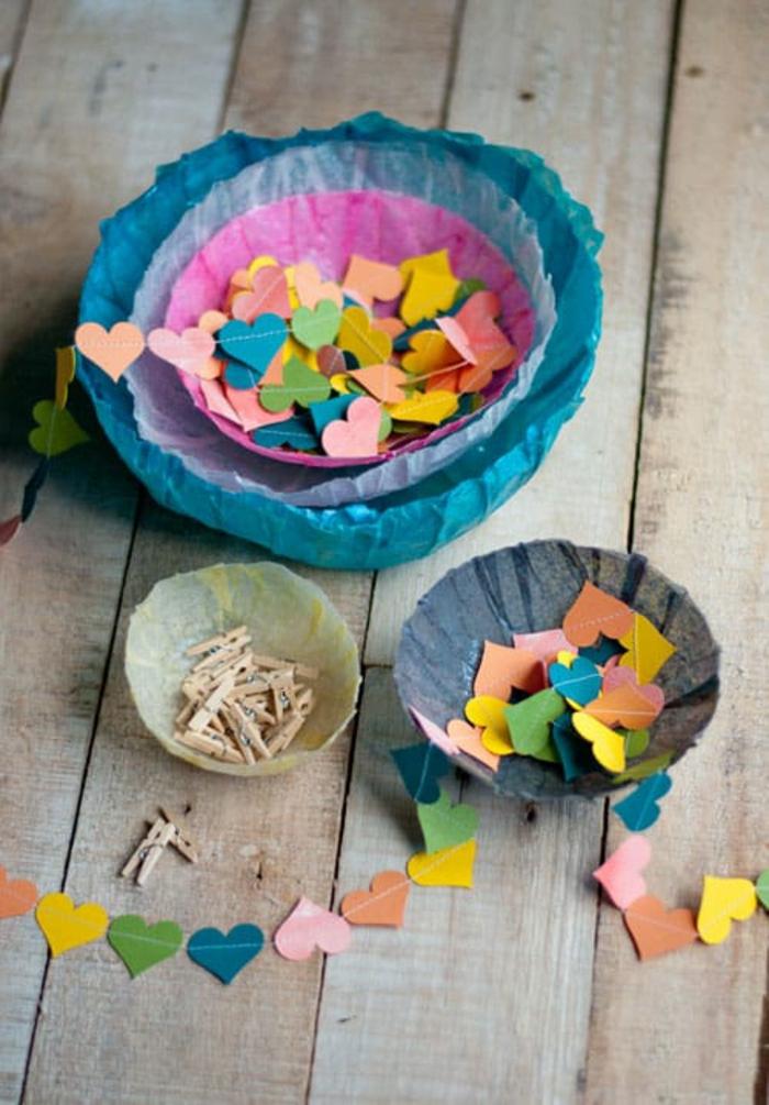 kleine Herzen auf Girlande, kleine Wäscheklammer, Tischdeko Geburtstag selber machen