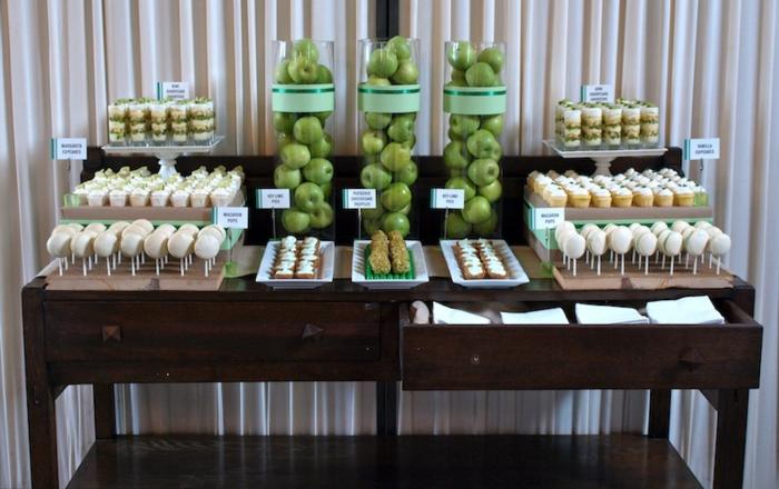 Süßigkeiten und Äpfel, Cupcakes, Tischdeko Geburtstag selber machen, für einen süßen Geburtstag