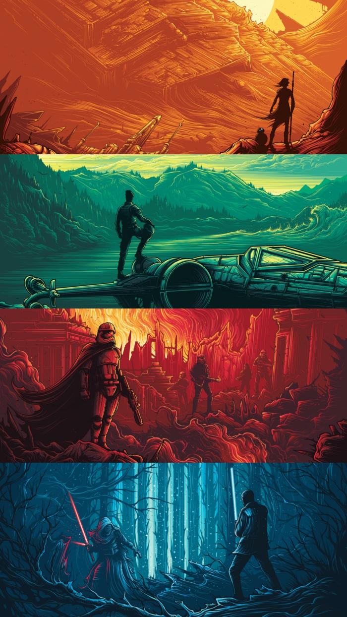 die vier Jahreszeiten mit Star Wars Symbolen, Hintergrundbilder kostenlos, Stormtruper und Helden