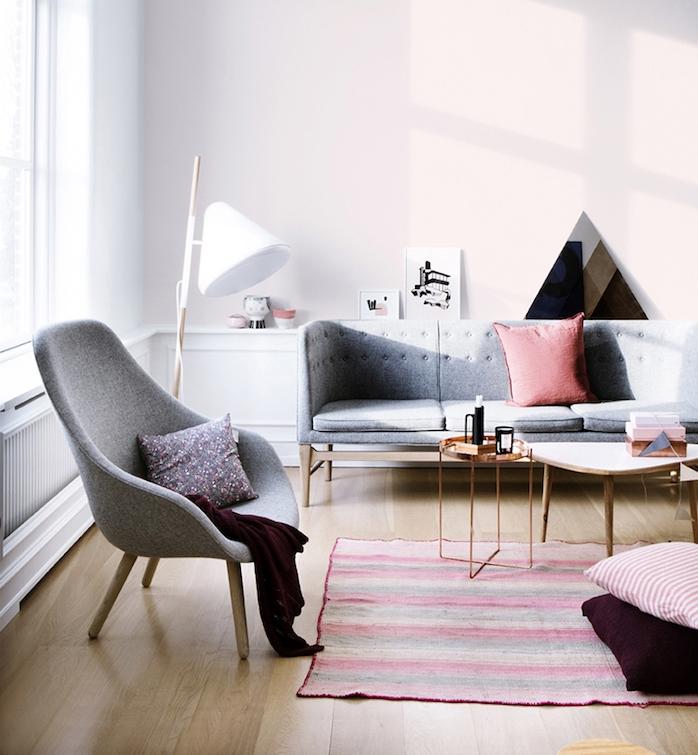 welche farbe passt zu grau, rosaroter teppich, bodenkissen, kissen auf dem sofa, sessel