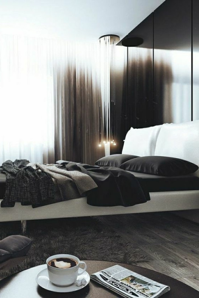frbkomvinationen wandfarbe grau ideen mit vorhängen gestalten, schwarze bettwäsche, weiße kissen, kaffee auf dem tisch