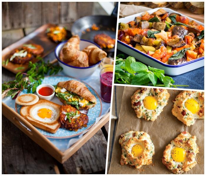 was gehört zum brunch, schale mit croissants, gesund essen, wolken aus eiern