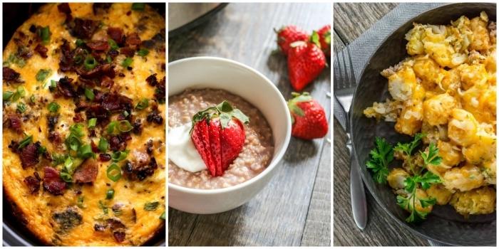 weiße schüssel, gesund essen, brei mit quinoa und erdbeeren, was gehört zum brunch