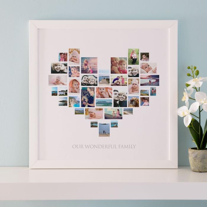 weißer rahmen, foto collage in der form von herzen, was kann ich meinem freund geschenken